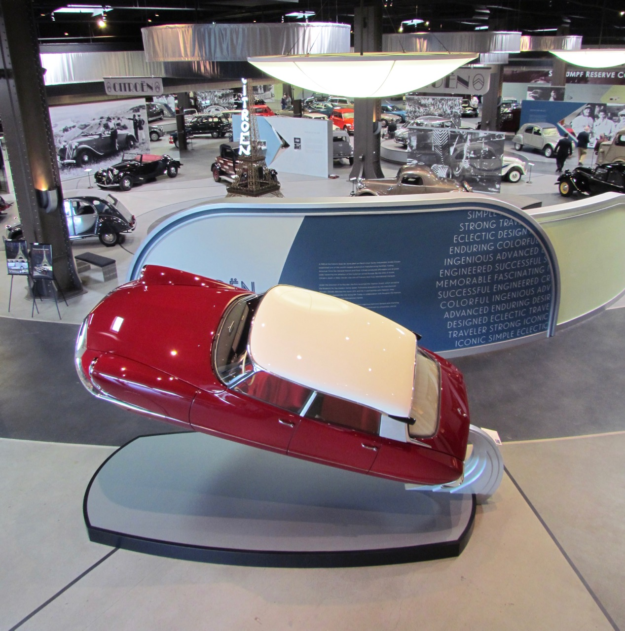 1967 Citroen ID19 'Rocket' greets visitors. The display is a tribute to a Citroen's car sculpture unveiled at Turin in 1957