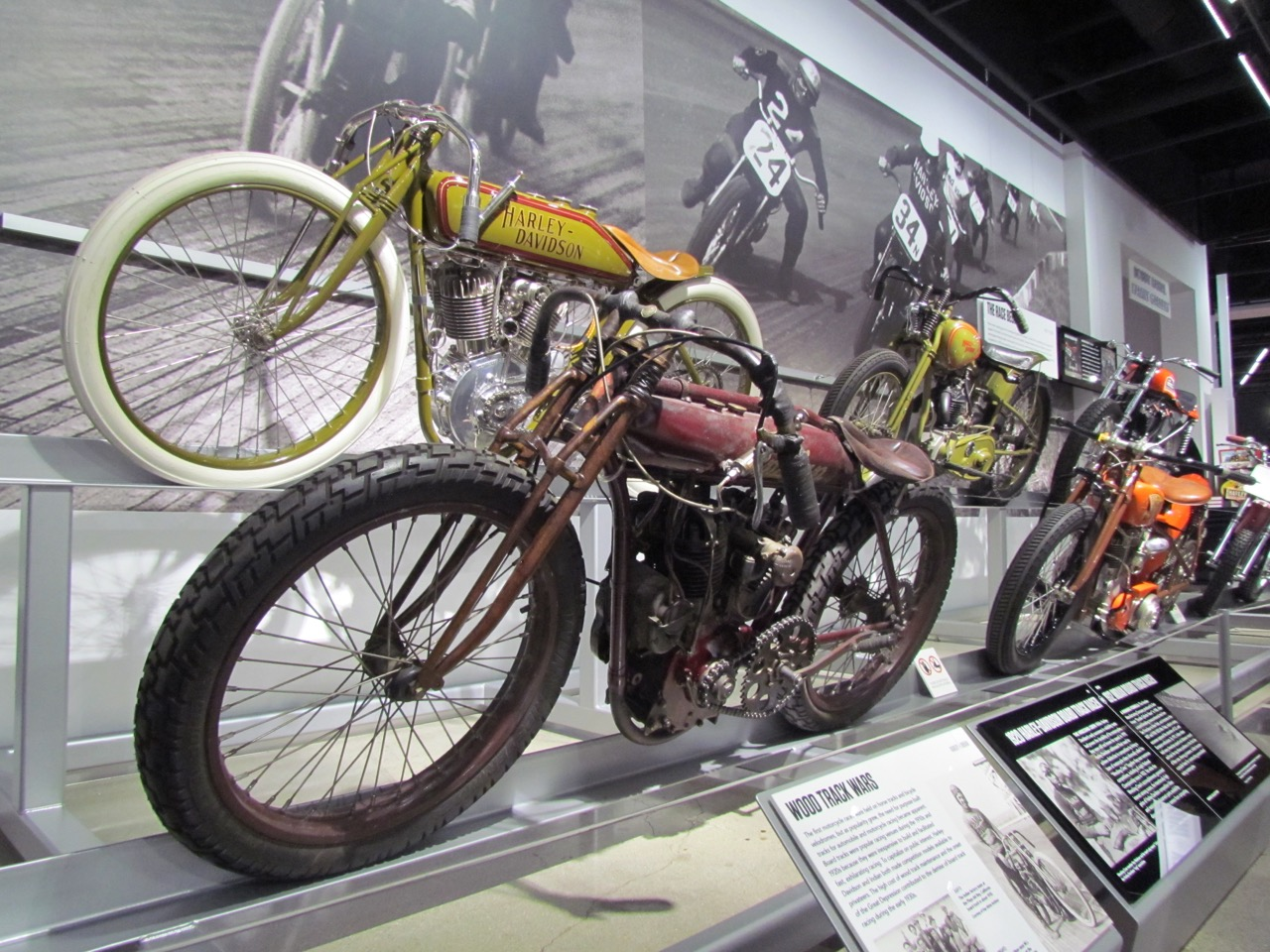 Vintage racing motorcycles are only part of the Harley vs. Indian exhibit at the Petersen |Larry Edsall photos