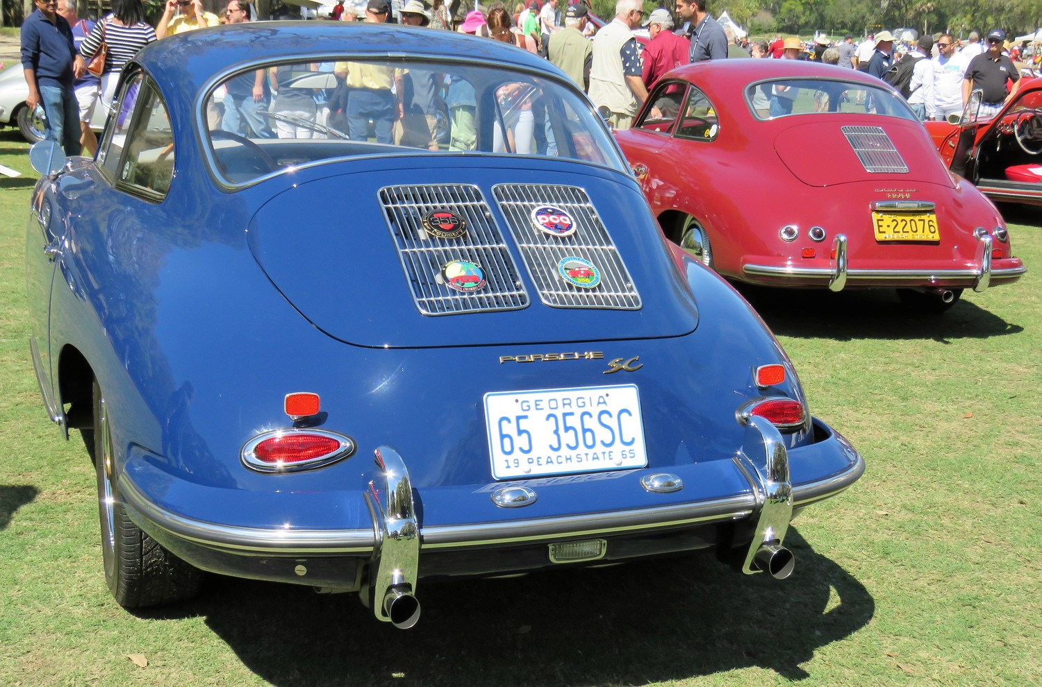 Porsche 356 coupes, late and early, show the styling progression