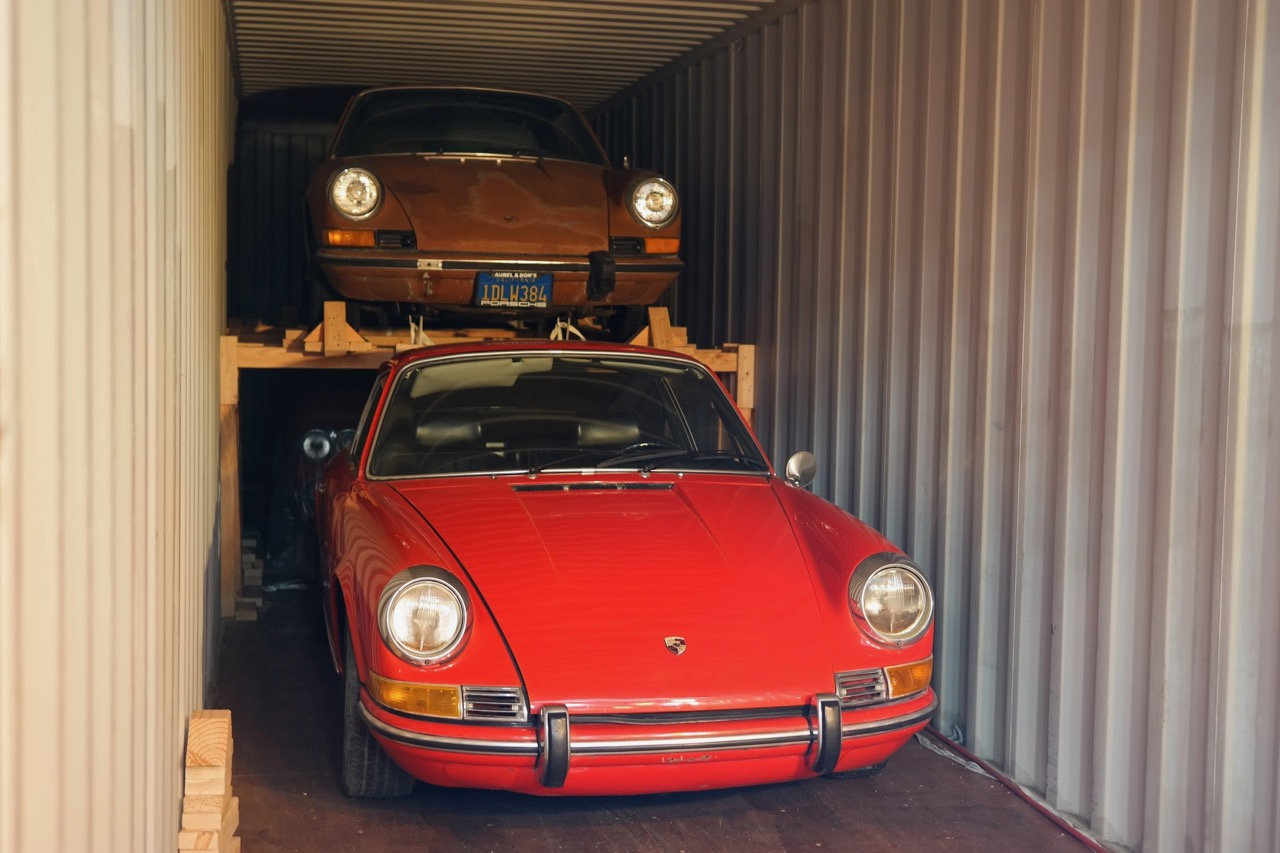 Porsches are ready for their ride across the Atlantic