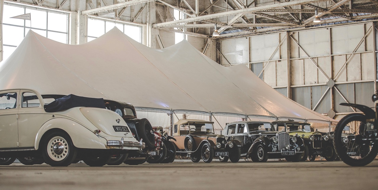 Even the auction tent was inside a massive WWII aircraft hangar
