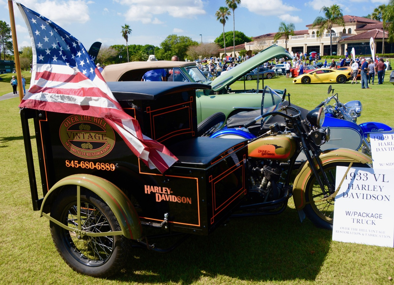 A 1933 Harley-Davidson with package-truck sidecar among the many and various cars at the show | Jim McCraw photos