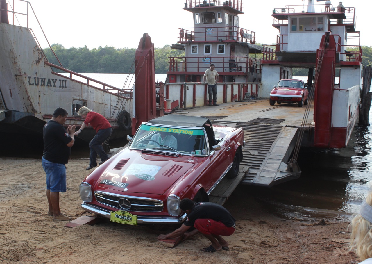 No secure containers here, rally cars ride ferry across a river in South America | Bespoke Rallies photo