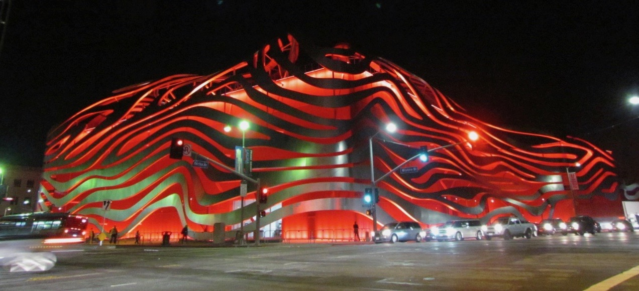 Revised Petersen museum is wrapped in red (metal) ribbon