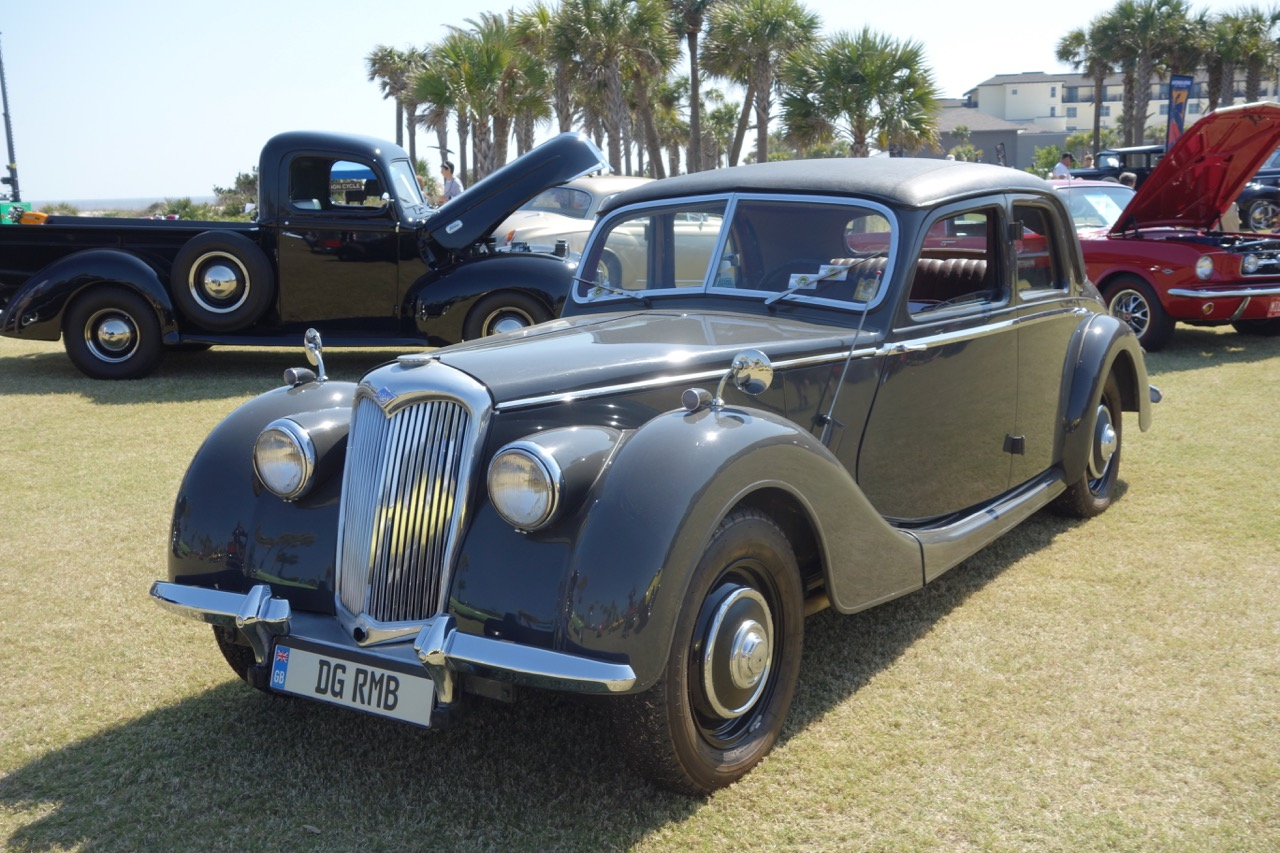 A vintage Riley among other two- and four-wheel vehicles at inaugural Caffeine and Octane at The Beach show | Andy Reid photos