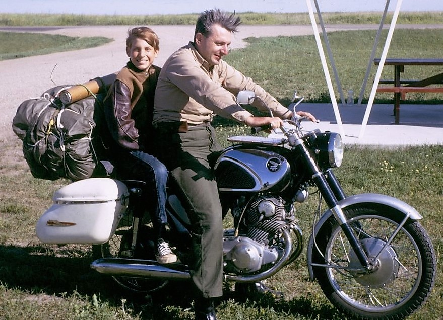 Author Robert Pirsig with his son Chris on their famed motorcycle trek | Robert Pirsig archive photo