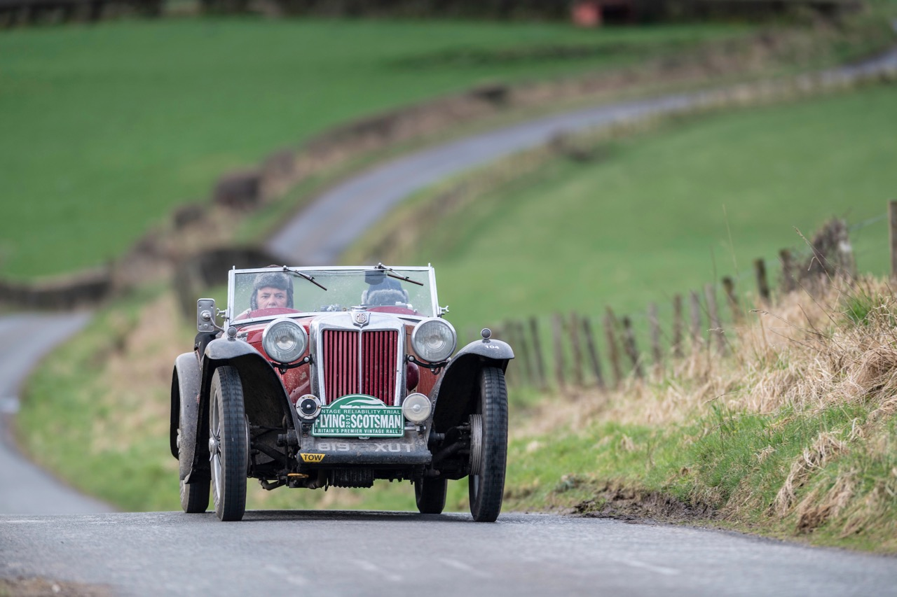 Supercharged 1939 MG TB on its way to victory in the 9th Flying Scotsman vintage rally | Endurance Rally Association photos