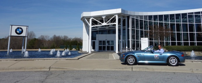 Andy Reid and his Z3 during their homecoming visit to BMW's South Carolina facilities | BMW photo