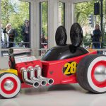 Mickey Mouse's model Roadster Racer is on display at a Marylebone showroom today to celebrate the new series 'Mickey and the Roadster Racers' on Disney Junior, Wednesdays at 5pm, and DisneyLife.