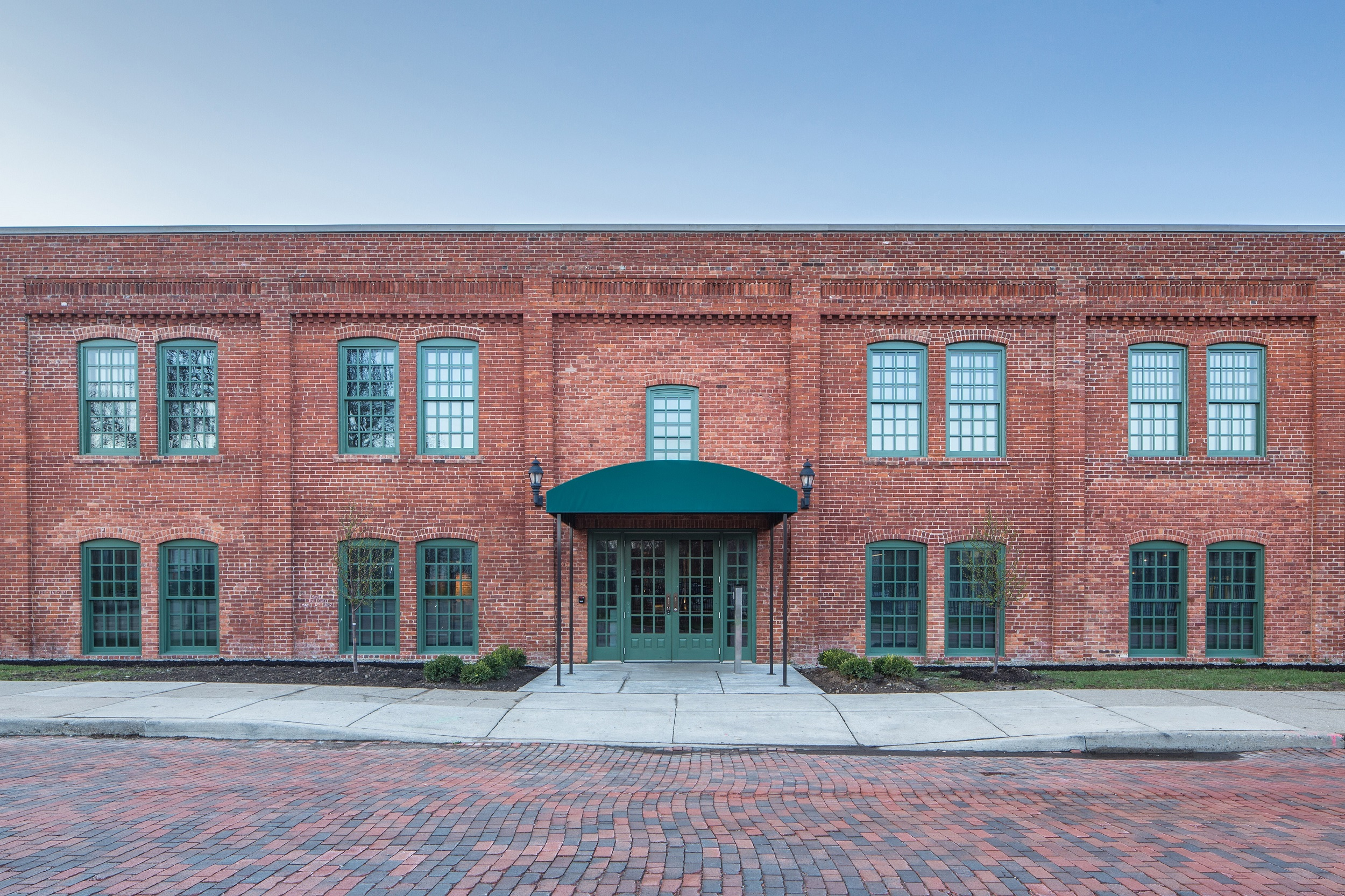 Main entrance of the restored Durant-Dort Factory One, in Flint, Michigan, which includes more than 17,000 color-matched replacement bricks | Photo by Jason Robinson