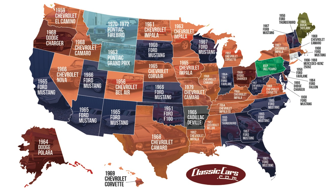Map shows most popular searches in each state for 2016 | ClassicCars.com graphic