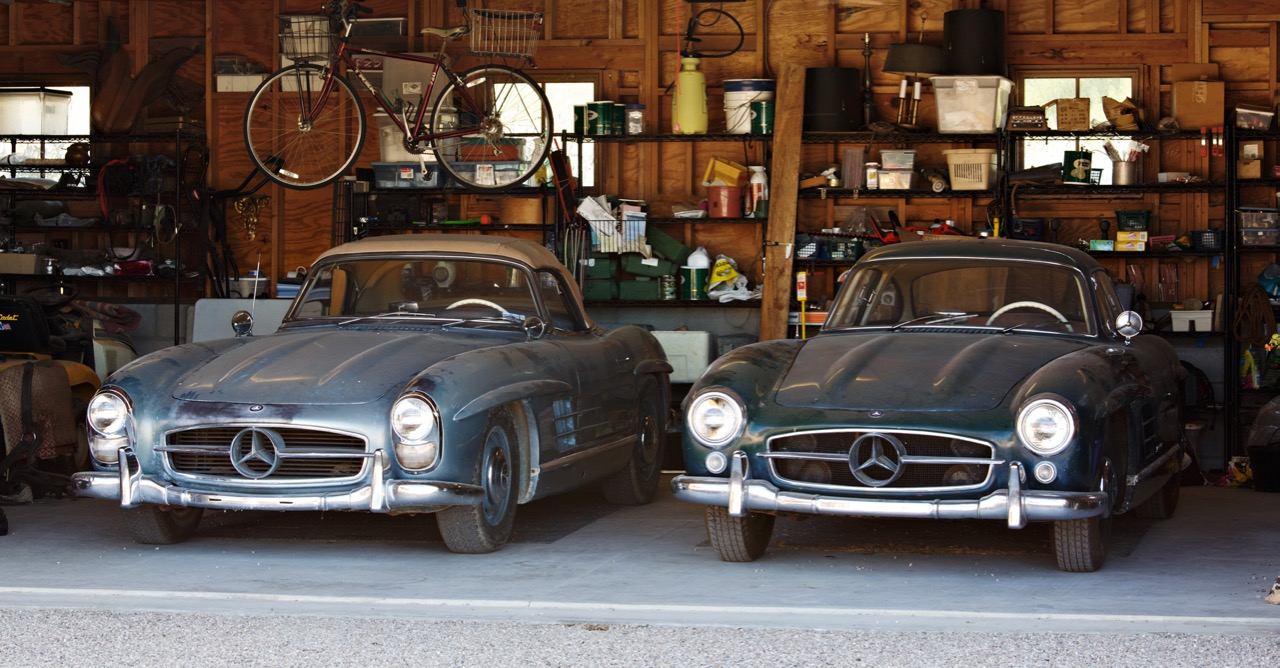 A pair of Mercedes-Benz 300SLs in the garage | Gooding & Company photos by Brian Henniker