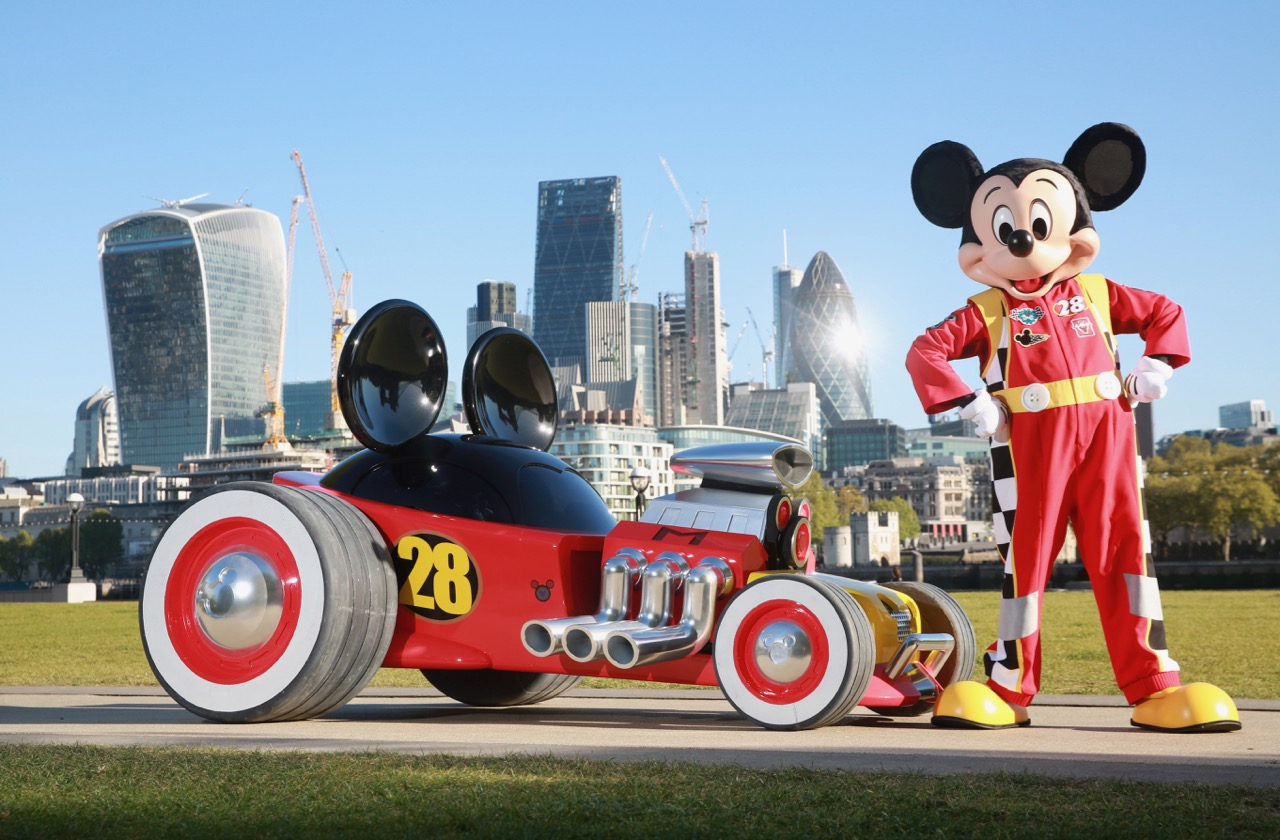 Mickey Mouse and his new Hot Doggin hot rod | Disney photo by Matt Alexander/PA Wire