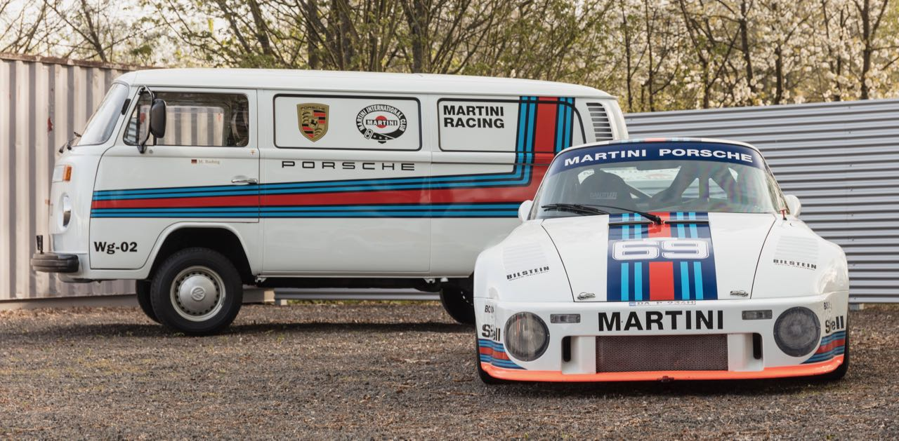 VW T1 transporter and Martini-liveried Group 5 Porsche
