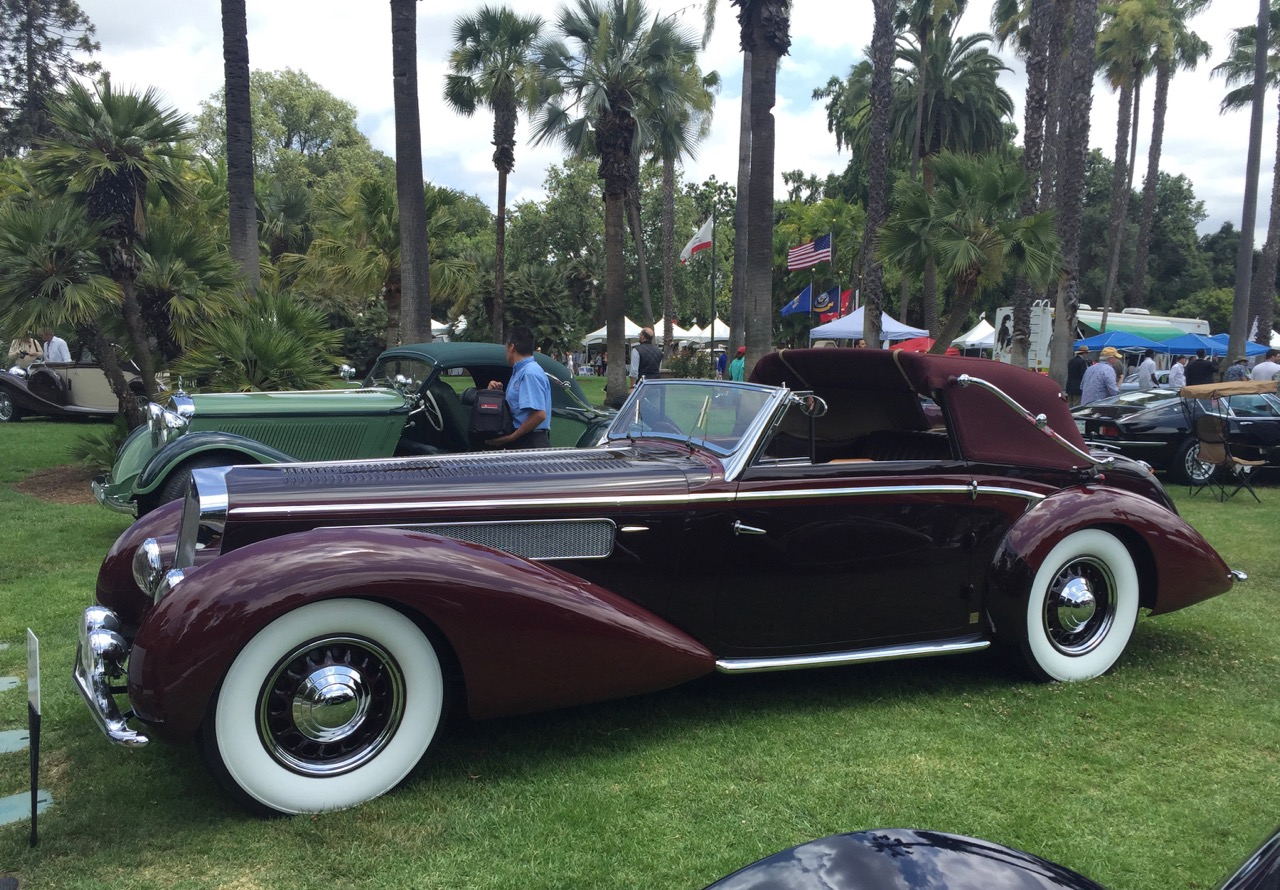 1937 Delage D8-120 Chapron 3-poistion cabriolet on display at San Marino Classic | Photos by Larry and Tessa Crane