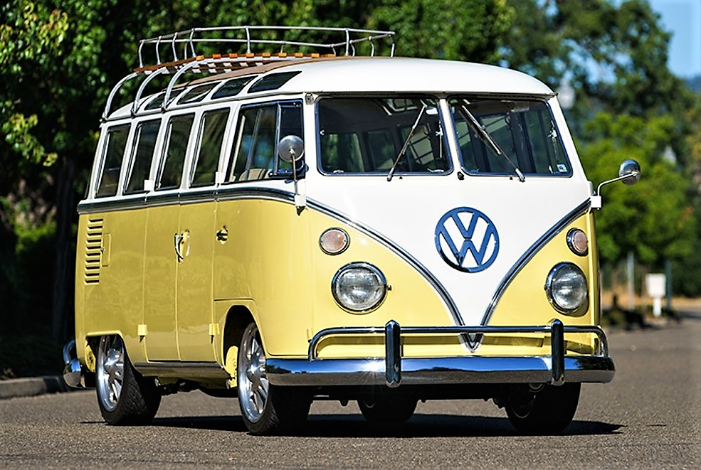 The 1960 VW microbus has been resto=modded for modern driving