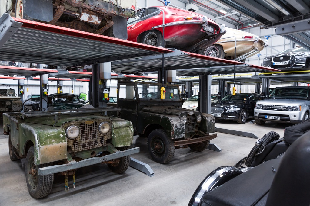 Classic car collection in storage