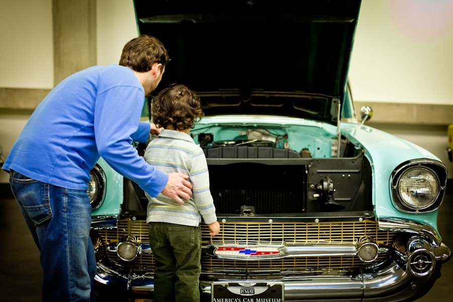 Father and Son look at car | ACM photo
