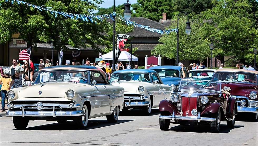 Classic cars lined up at the Motor Muster