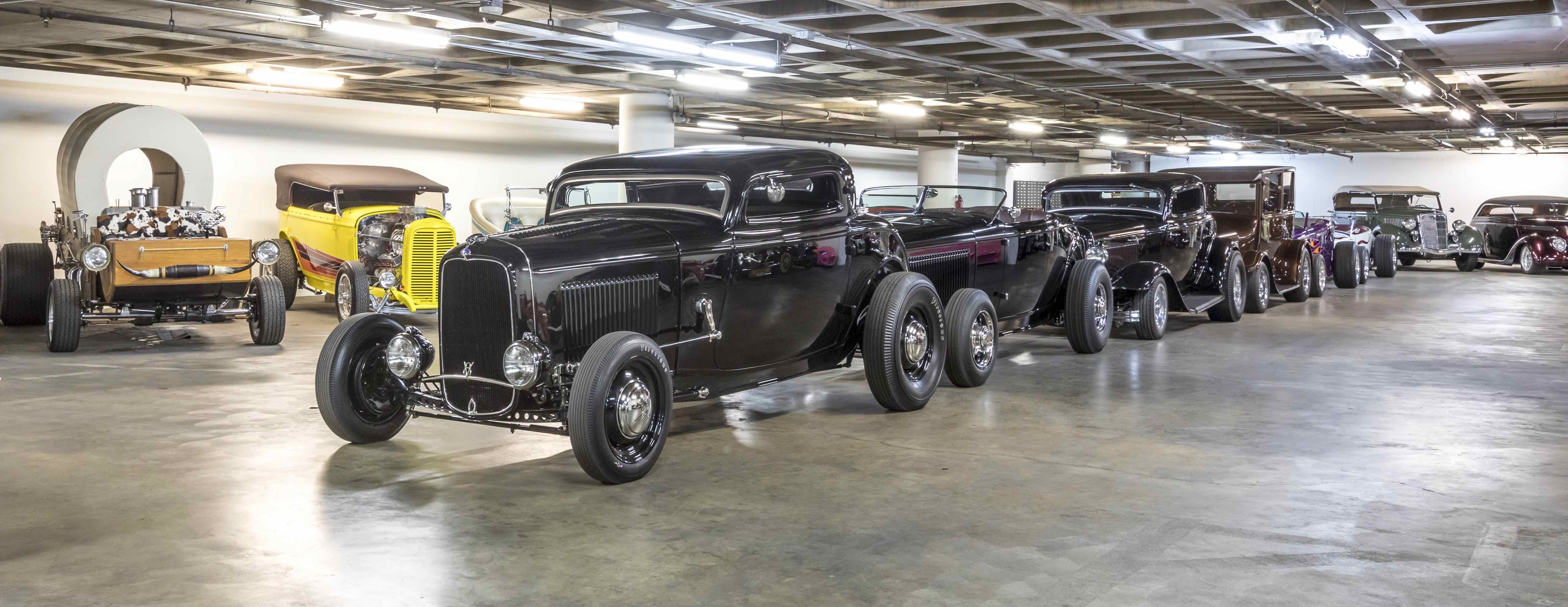 Hot rods ready to roll in and out of the Petersen