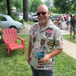 A vintage race fan and his vintage shirt patches