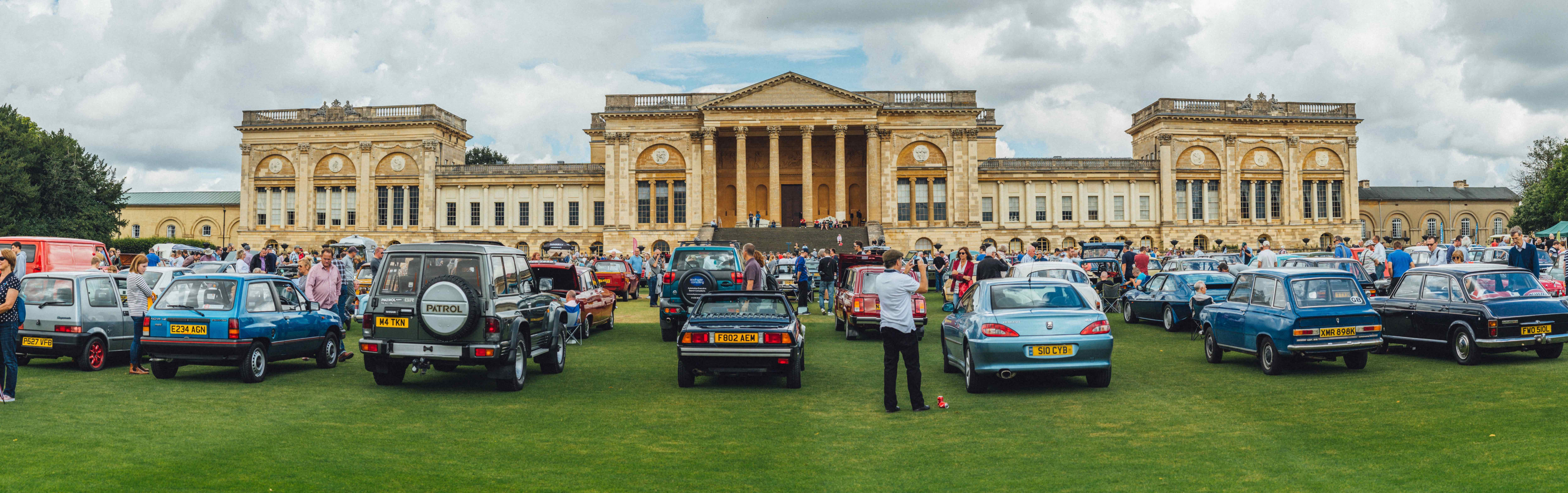 Stowe House is in juxtaposition with 'ordinary' automobiles | Haggerty International photos