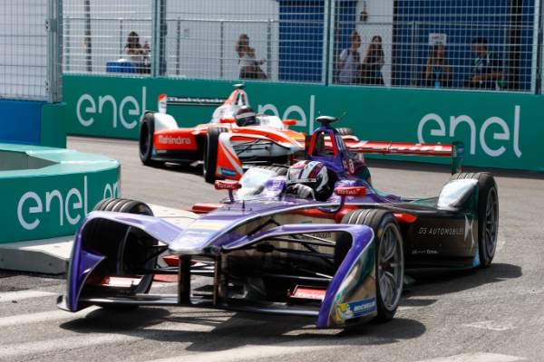 Formula E uses electric-powered race cars