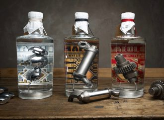 Worm in tequila bottle? Ha! This gin has Harley engine parts