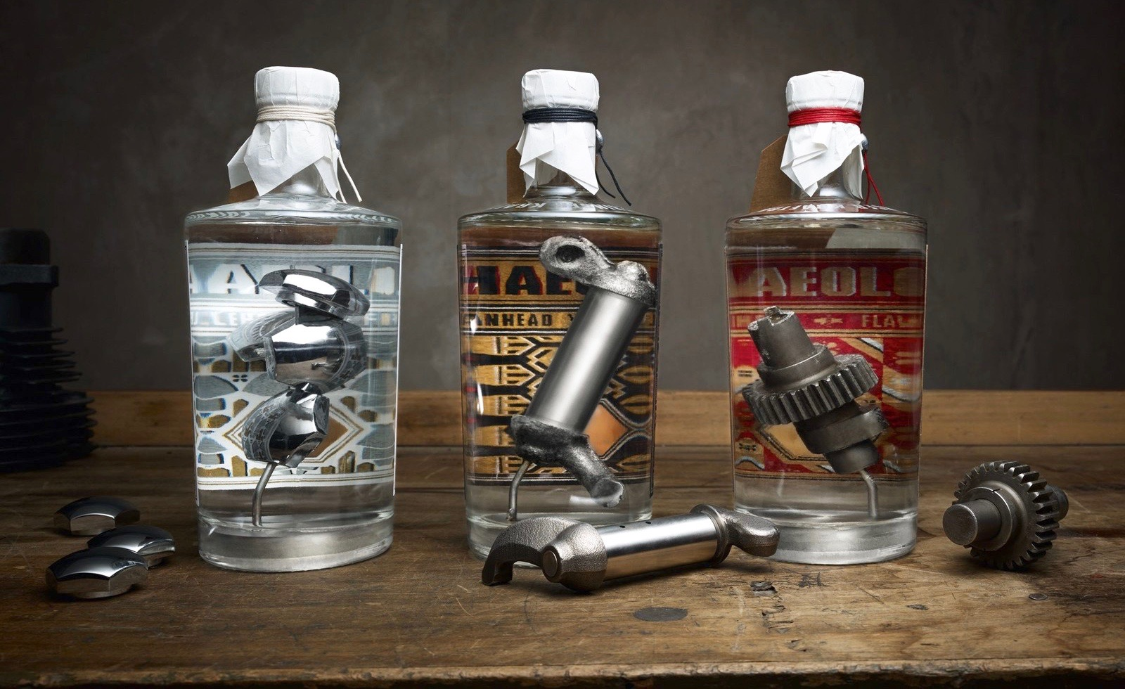 Each gin bottles contains a Harley-Davidson motorcycle engine part | The Archeologist photo