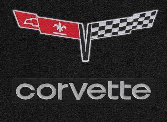 Period-correct Corvette logo floor mats