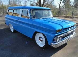 Big, blue 1964 GMC Suburban Custom