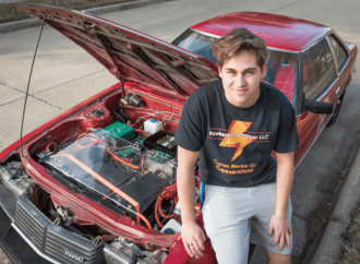 18-year-old builds his own electric car from a 1980 Toyota Celica