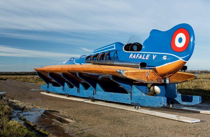 Think Bugatti on the water: Rafale V racing boat on Paris auction docket