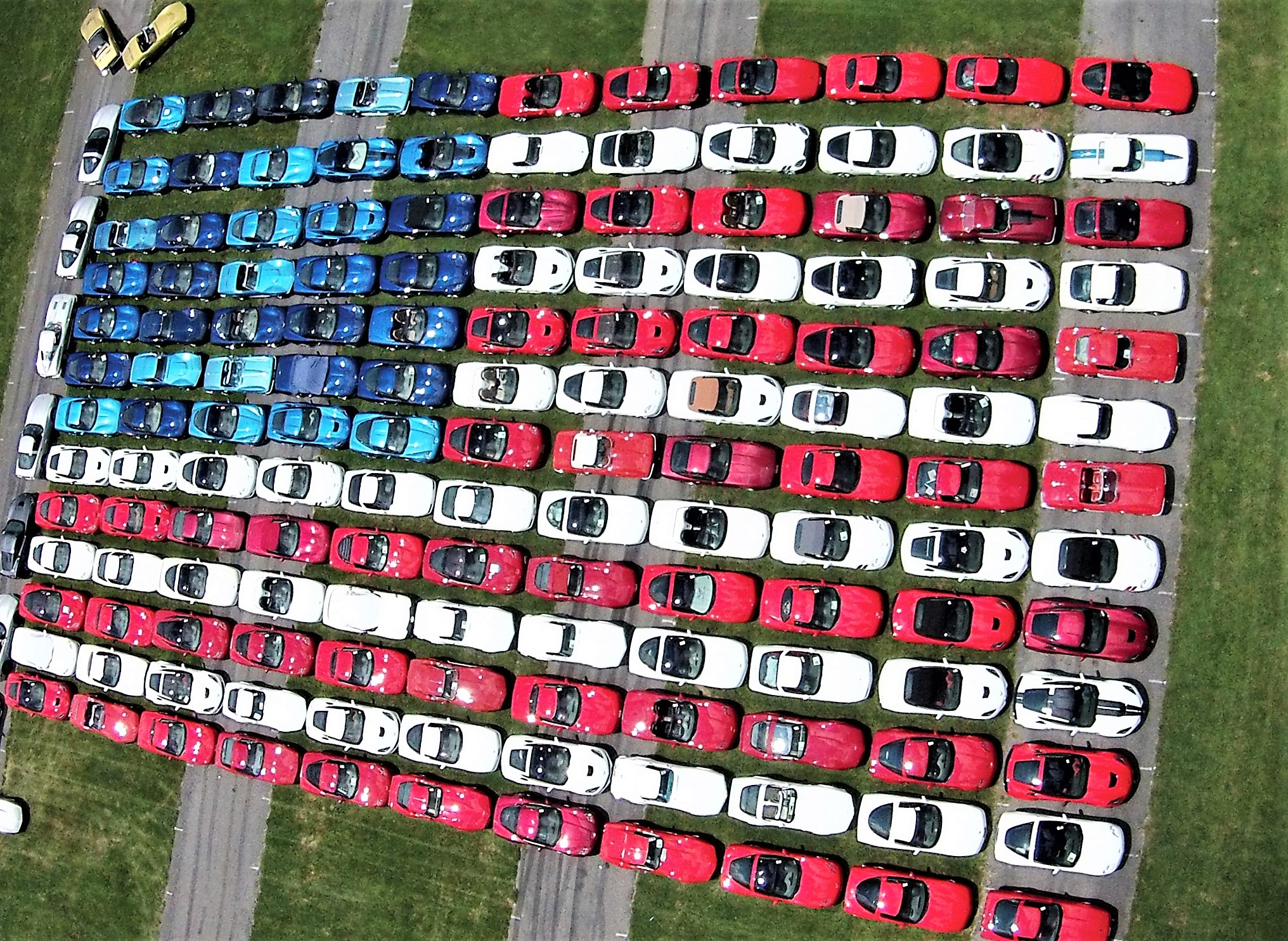 The iconic American flag made of Corvettes