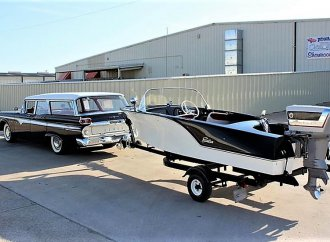 Ahoy! This Edsel station wagon comes with a matching boat