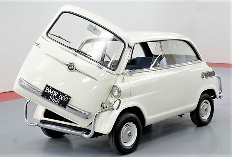 The 600 retains the BMW Isetta's signature front clam-shell door