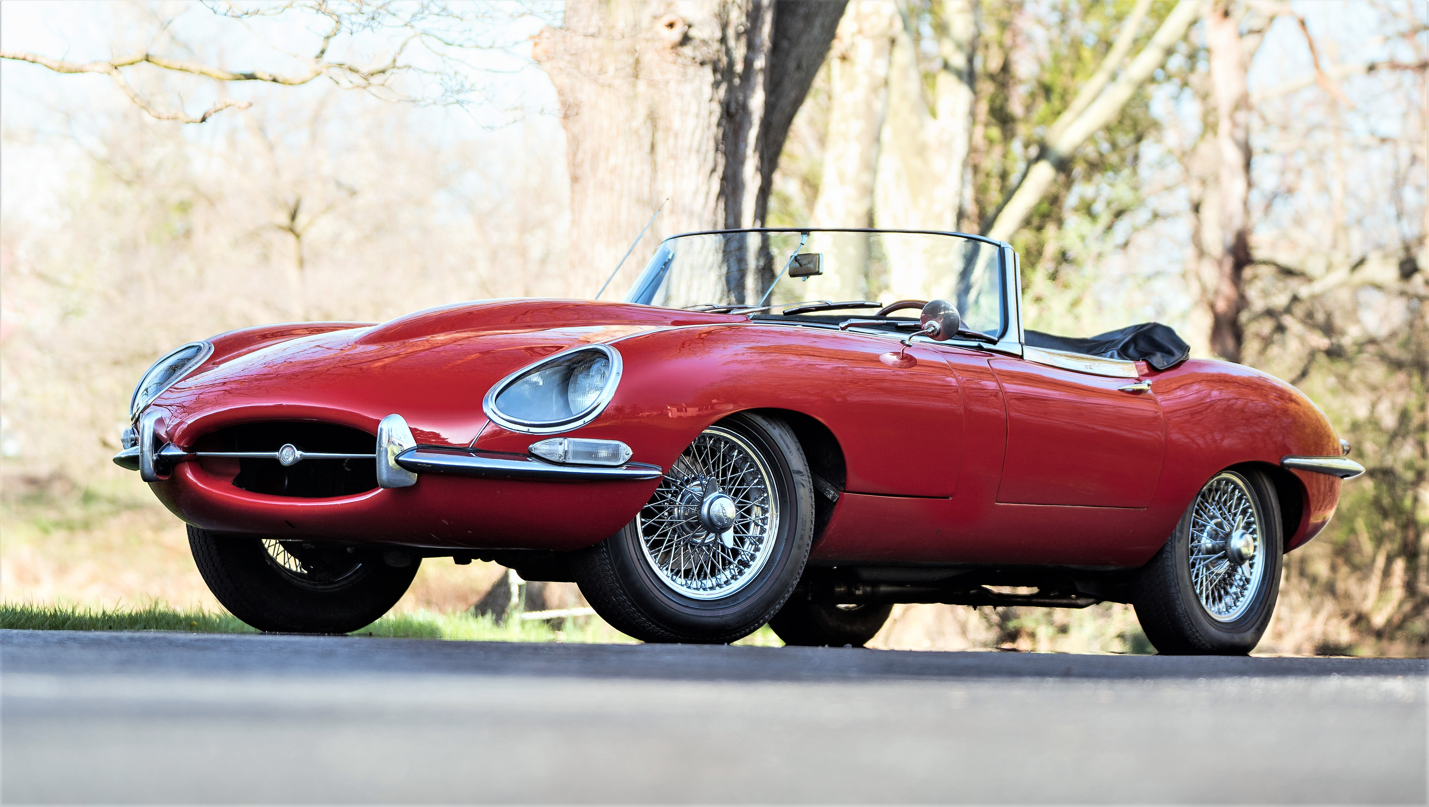 The 1960s sports cars include this Jaguar E-Type roadster
