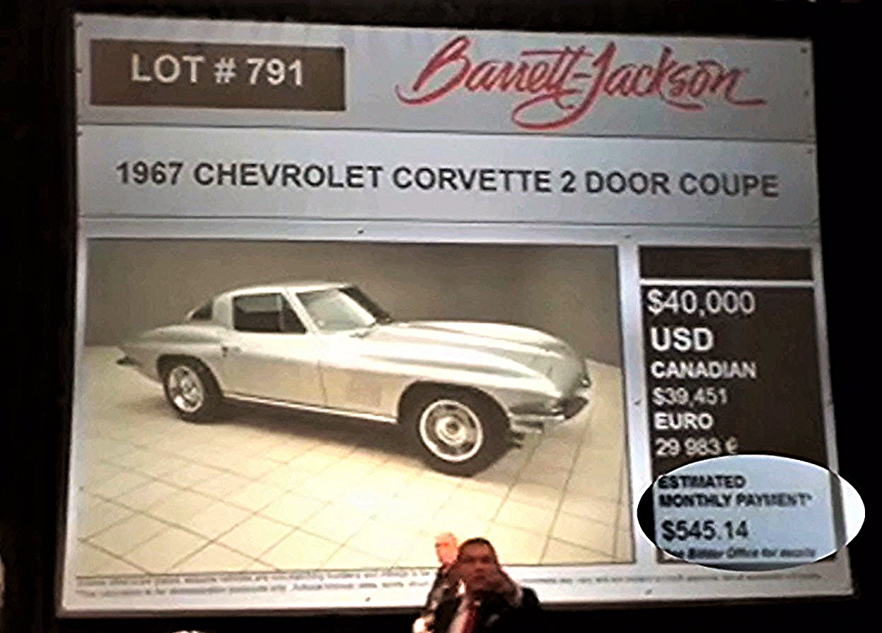 Barrett-Jackson auction bidding screen includes Woodside estimates (highlight added) | Barrett-Jackson