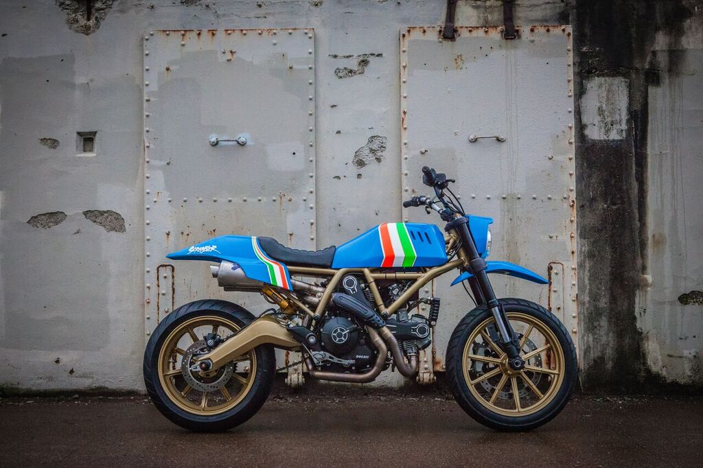 The bike was painted blue as an homage to the Italian national soccer team and took its style cues from '80s motocross. | Ducati North America Photo
