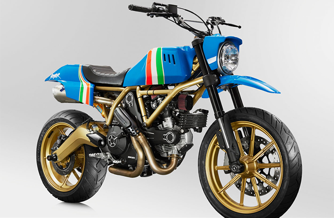 This custom Ducati Scrambler will be sold at Mecum's Las Vegas auction to benefit Shriners Children's Hospital. | Mecum Auctions Photo
