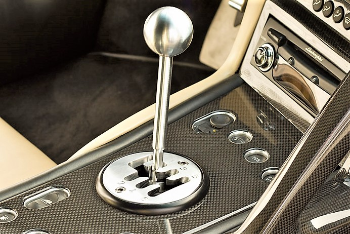 The gated shifter of a Lamborghini Murcielago