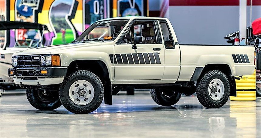 The 33-year-old Toyota pickup still wears its original graphics