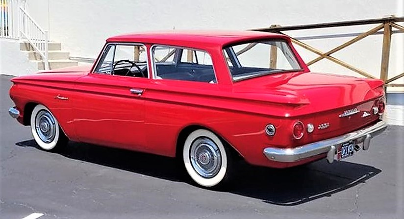 The Rambler American has been repainted in a fiery shade of red