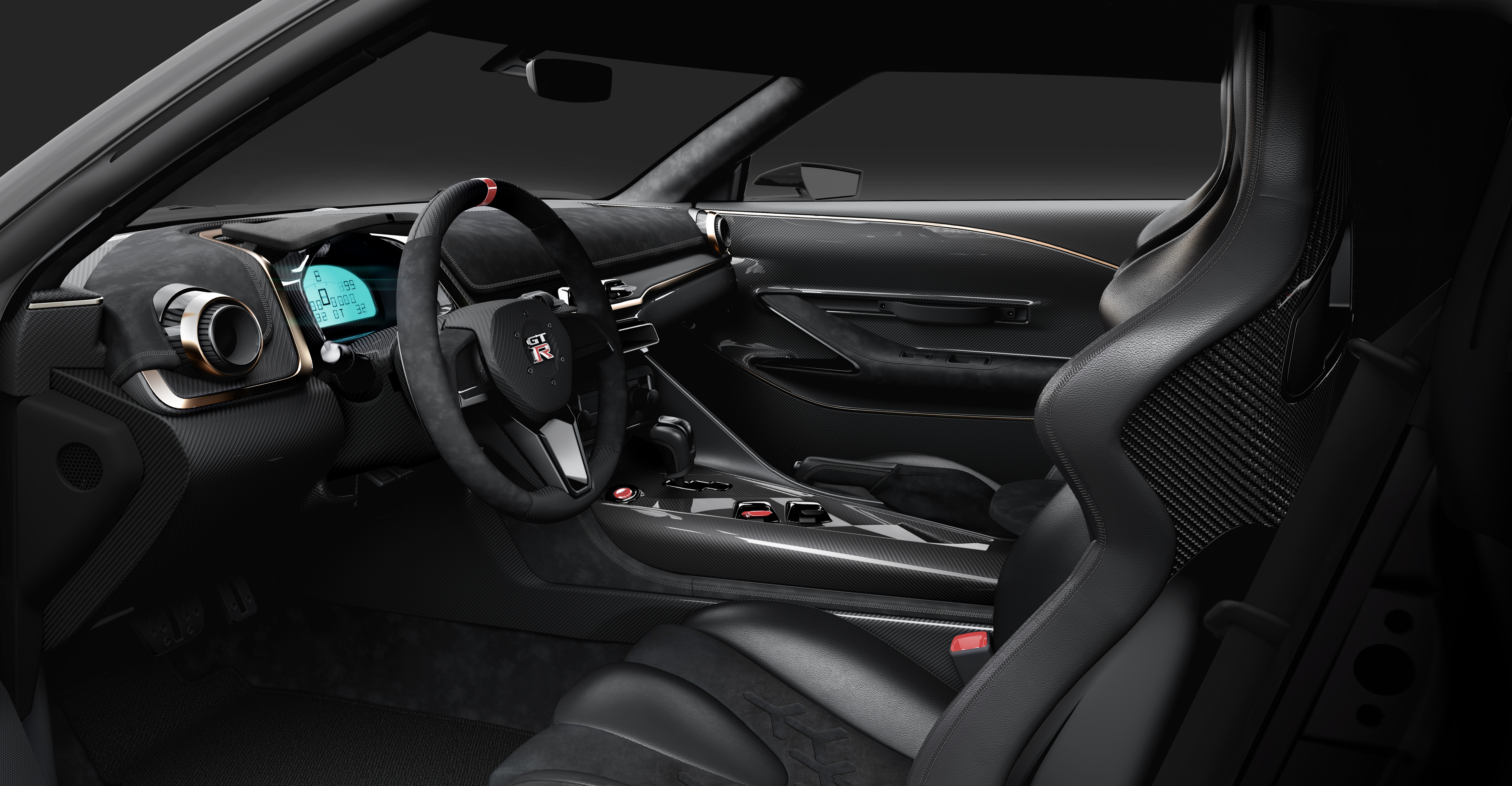 Two different carbon fiber finishes were used across the center console, instrument panel and door linings, along with a combination of Alcantara and leather. | Nissan photo