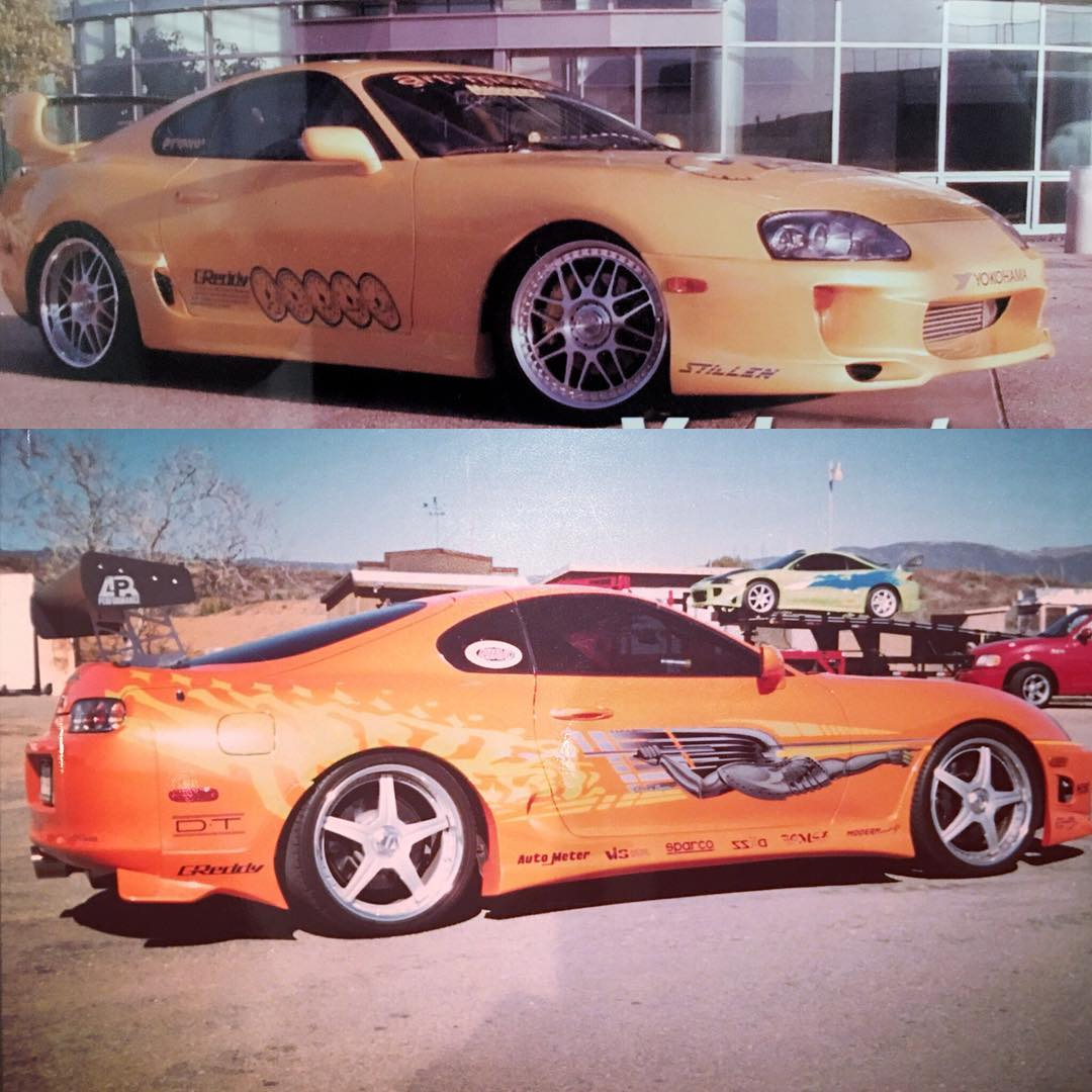 Lieberman's Toyota Supra (above) is shown before production began. The bottom photo is after it was transformed into the hero car. | Instagram photo