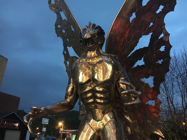 The eyes of the Mothman Statue in Point Pleasant were supposed to glow red in line with the legend, but funding fell short. | Flickr photo by Amy Meredith used with no alterations under CC 2.0