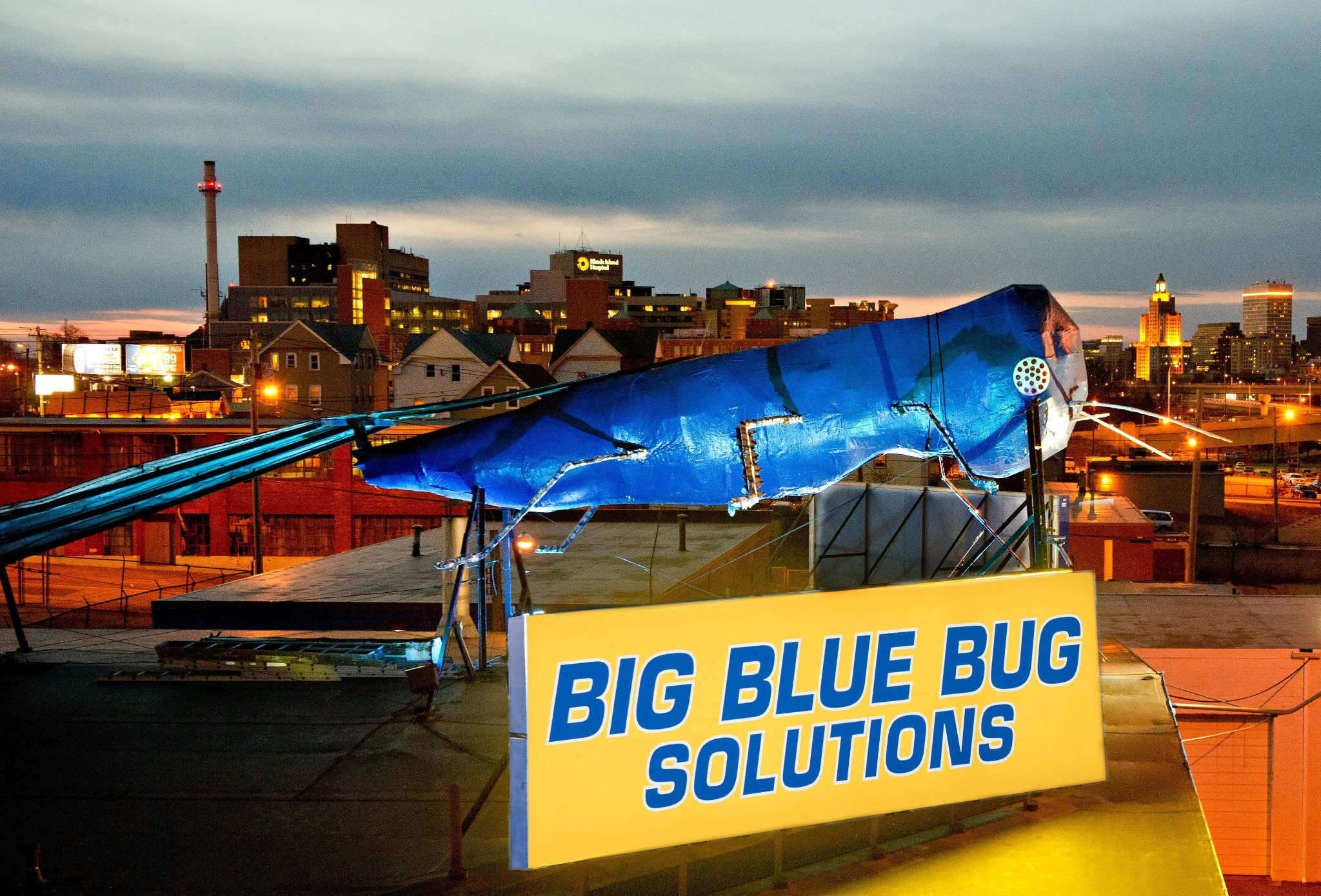 To say the Big Blue Bug dominates the skyline would be an understatement. | Facebook photo