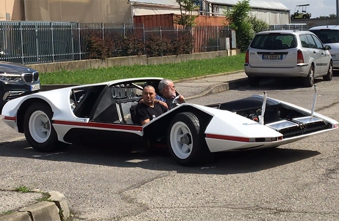 Back in 2014, James Glickenhaus added a real rarity to his car collection: the one-off Ferrari Modulo. Now, it drives again. Video from Scuderia Cameron Glickenhaus showed the concept taking to the street. | Screenshot