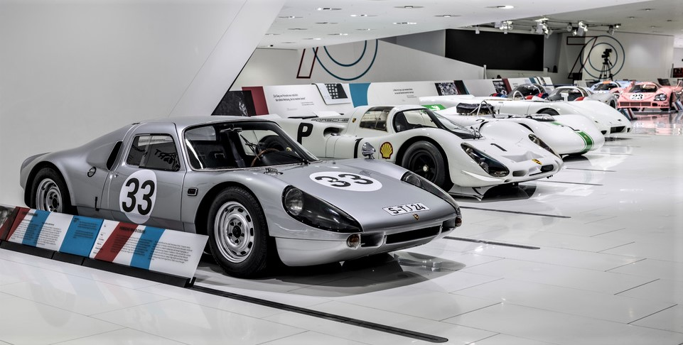 The exhibit traces Porsche's racing heritage
