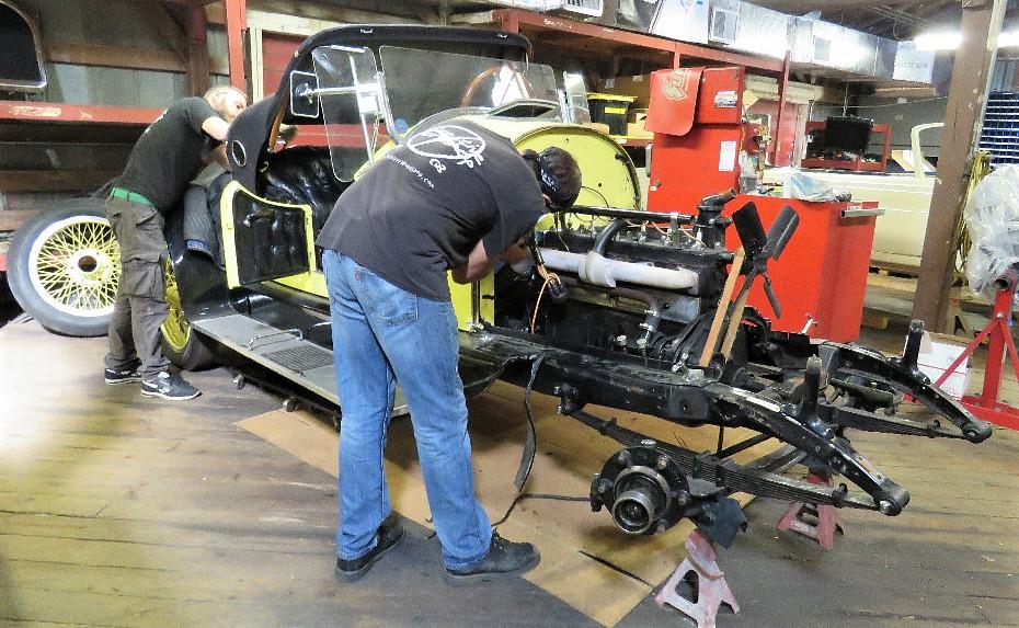Creative workshop technicians restoring the 1921 Kissel Gold Bug | Creative Workshop